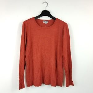 Jm Collection L Rusty Red Crew Neck Top 7AM25